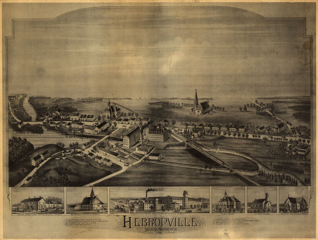 8 x 12 Reproduced Photo of Vintage Old Perspective Birds Eye View Map or Drawing of: Hebronville, Massachusetts.  O.H. Bailey & Co.  1891