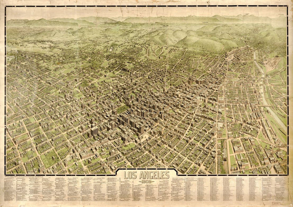 8 x 12 Reproduced Photo of Vintage Old Perspective Birds Eye View Map or Drawing of: Los Angeles 1909. Gates, Worthington. 1907