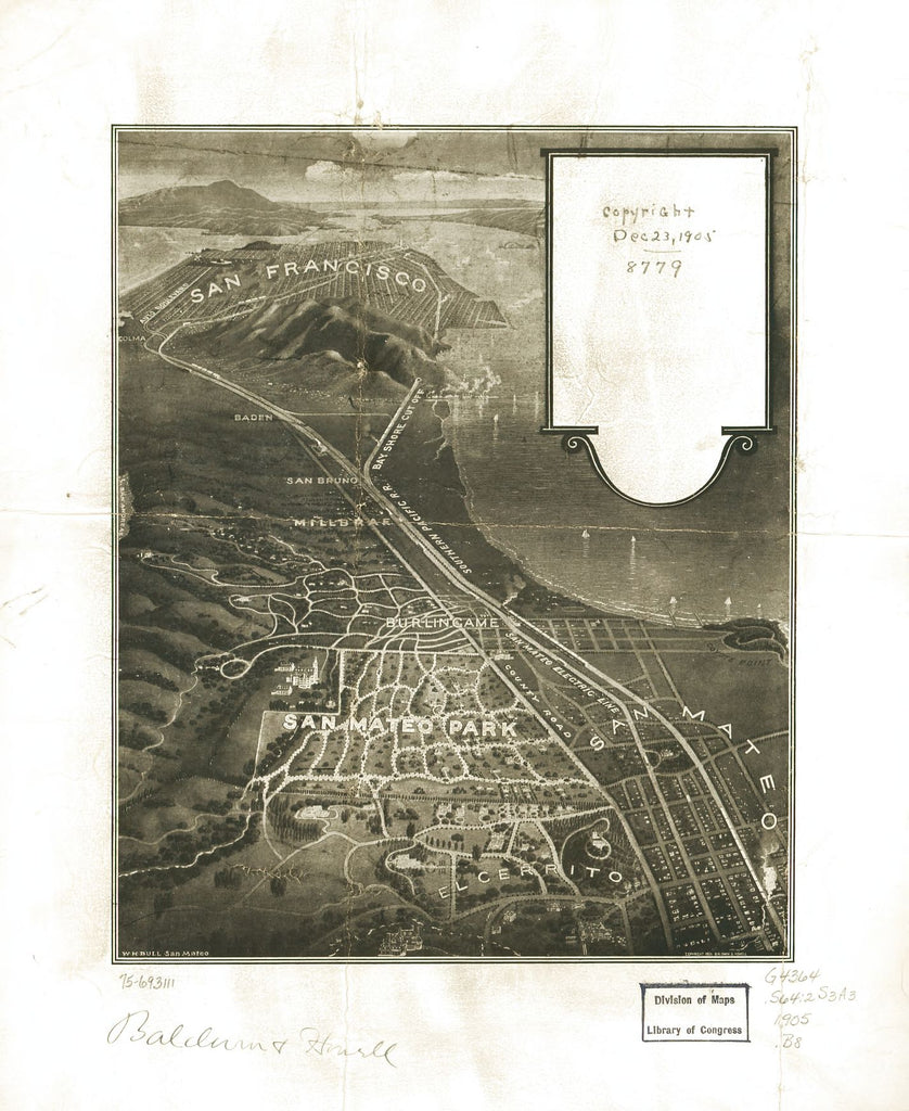 8 x 12 Reproduced Photo of Vintage Old Perspective Birds Eye View Map or Drawing of: [San Mateo Park. Bull, William H. c1905