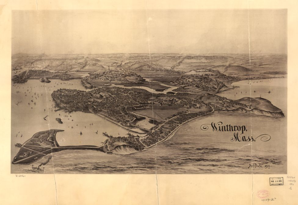 8 x 12 Reproduced Photo of Vintage Old Perspective Birds Eye View Map or Drawing of: Winthrop, Mass.  Poole, A. F.  1894