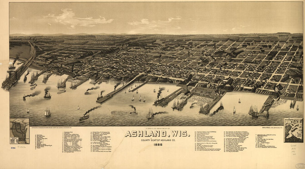 8 x 12 Reproduced Photo of Vintage Old Perspective Birds Eye View Map or Drawing of: A Ashland, Wis., county seat of Ashland County 1886. Wellge, H. (Henry) 1886