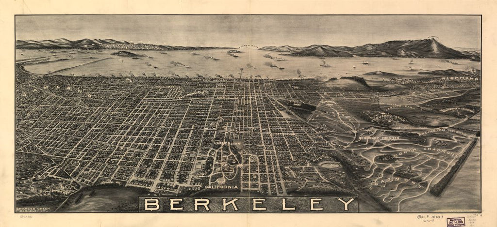 8 x 12 Reproduced Photo of Vintage Old Perspective Birds Eye View Map or Drawing of: Berkeley. Green, Charles, draughtsman. 1909?