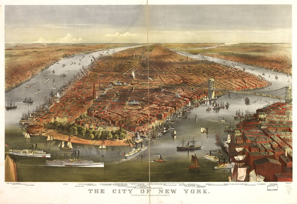 8 x 12 Reproduced Photo of Vintage Old Perspective Birds Eye View Map or Drawing of: New York. Currier & Ives 1870