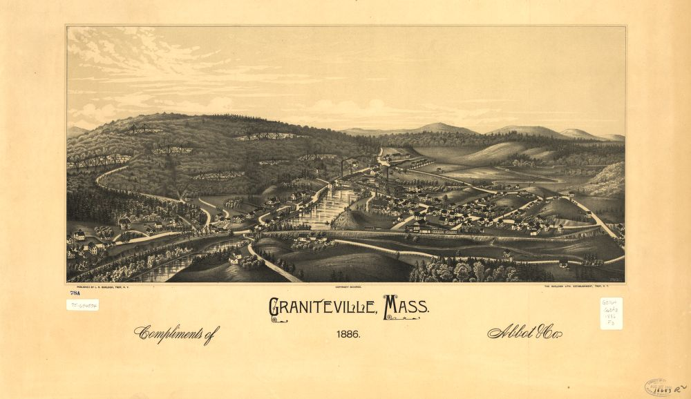 8 x 12 Reproduced Photo of Vintage Old Perspective Birds Eye View Map or Drawing of: Graniteville, Mass. 1886.  Fausel, C. (Christian) - Burleigh, L. R. (Lucien R.) - Burleigh Litho - Fausel, C.  1886