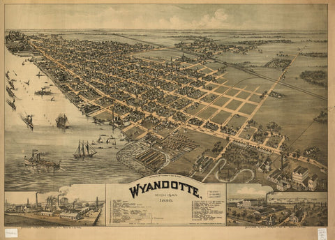 8 x 12 Reproduced Photo of Vintage Old Perspective Birds Eye View Map or Drawing of: Wyandotte, Michigan 1896 Fowler, T. M. 1896