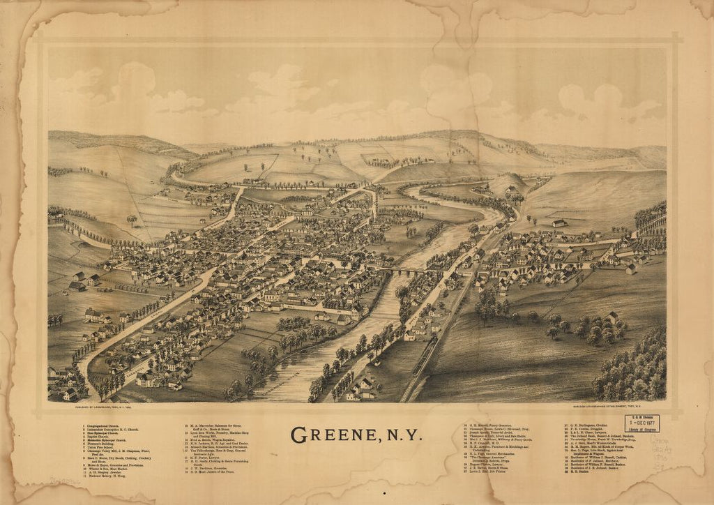 8 x 12 Reproduced Photo of Vintage Old Perspective Birds Eye View Map or Drawing of: Greene, N.Y. Burleigh, L. R. (Lucien R.) - Burleigh Litho - Burleigh, L. R. 1890