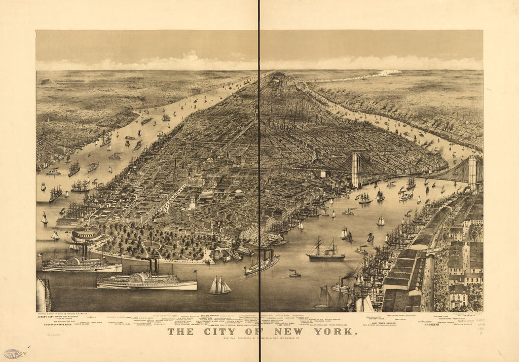 8 x 12 Reproduced Photo of Vintage Old Perspective Birds Eye View Map or Drawing of: New York. Parsons & Atwater - Currier & Ives 1886