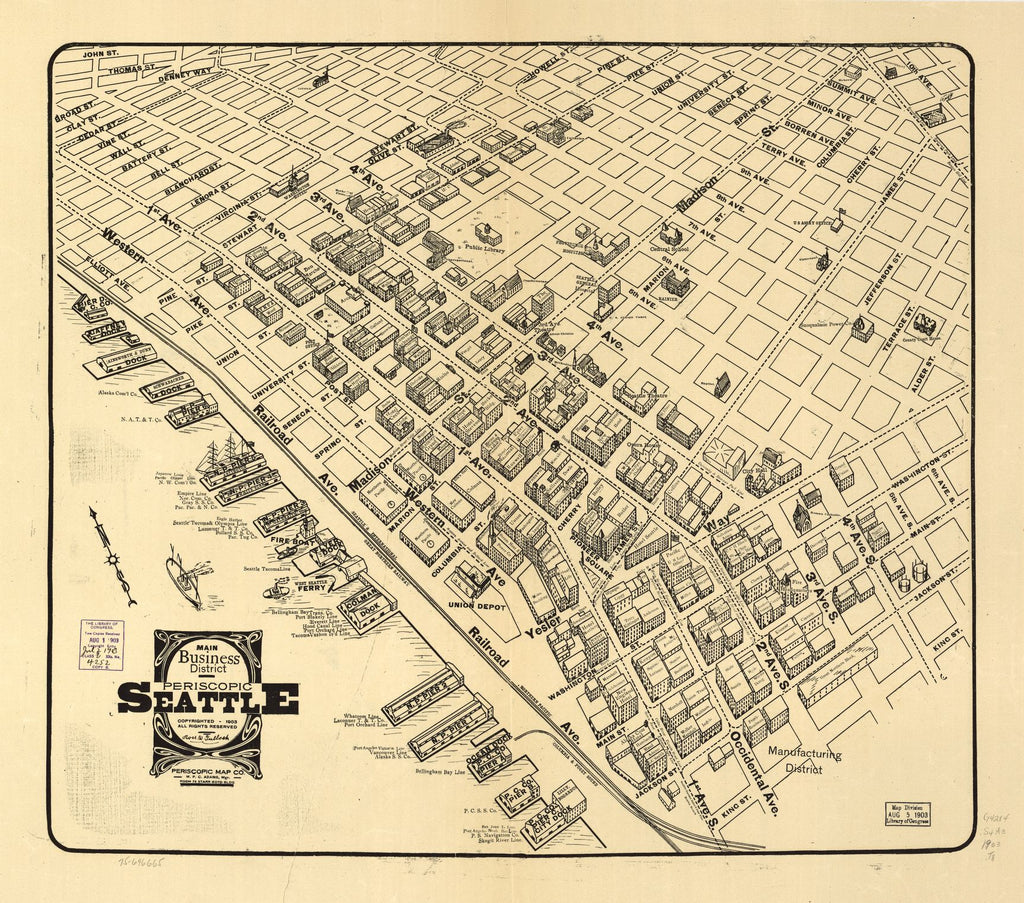 8 x 12 Reproduced Photo of Vintage Old Perspective Birds Eye View Map or Drawing of: Main business district periscopic Seattle. Tulloch, Ross W. c1903
