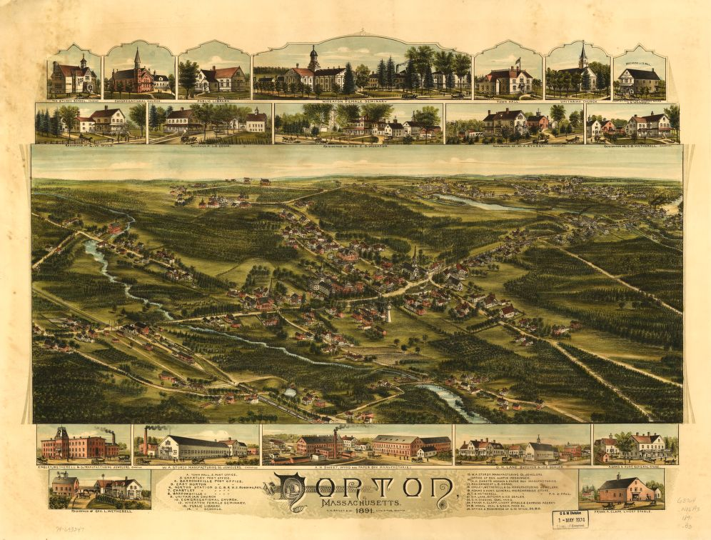 8 x 12 Reproduced Photo of Vintage Old Perspective Birds Eye View Map or Drawing of: Norton, Massachusetts 1891.  O.H. Bailey & Co.  1891