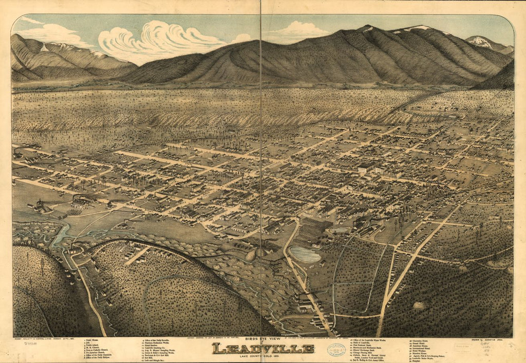 8 x 12 Reproduced Photo of Vintage Old Perspective Birds Eye View Map or Drawing of: Leadville, Lake County, Colo. 1879. Koch, Augustus, c1879