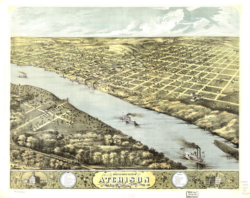 8 x 12 Reproduced Photo of Vintage Old Perspective Birds Eye View Map or Drawing of: Atchison, Atchison Co., Kansas 186[9] Ruger, A. 1869