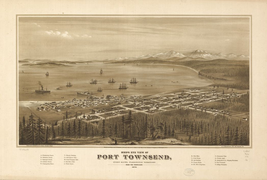 8 x 12 Reproduced Photo of Vintage Old Perspective Birds Eye View Map or Drawing of: Port Townsend, Puget Sound, Washington Territory 1878. Glover, E. S. 1878