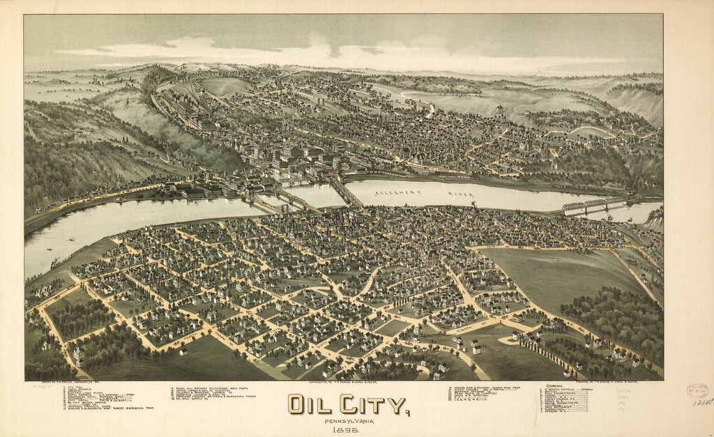 8 x 12 Reproduced Photo of Vintage Old Perspective Birds Eye View Map or Drawing of: Oil City, Pennsylvania 1896. Fowler, T. M. - Moyer, James - Fowler, T. M. 1896