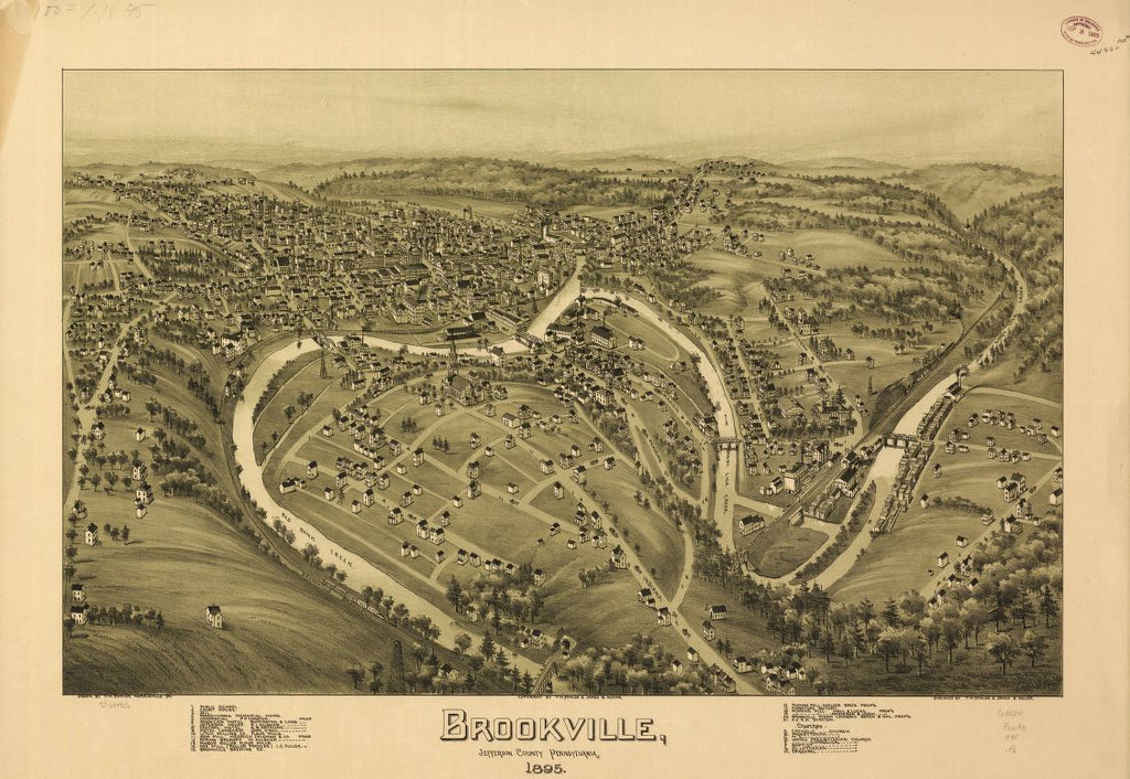 8 x 12 Reproduced Photo of Vintage Old Perspective Birds Eye View Map or Drawing of: Brookville, Jefferson County, Pennsylvania 1895. Fowler, T. M. - Moyer, James - Fowler, T. M. 1895