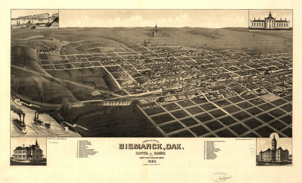 8 x 12 Reproduced Photo of Vintage Old Perspective Birds Eye View Map or Drawing of: Bismarck, Dak. Capital of Dakota and county-seat of Burleigh-County 1883. Stoner, J. J. c188[3]