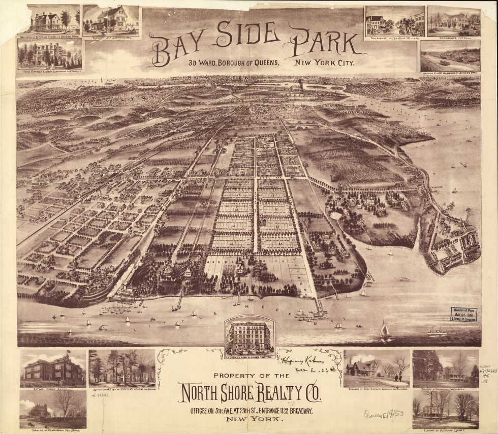 8 x 12 Reproduced Photo of Vintage Old Perspective Birds Eye View Map or Drawing of: Bay Side Park, 3d ward, borough of Queens, New York City. North Shore Realty Co. 1915