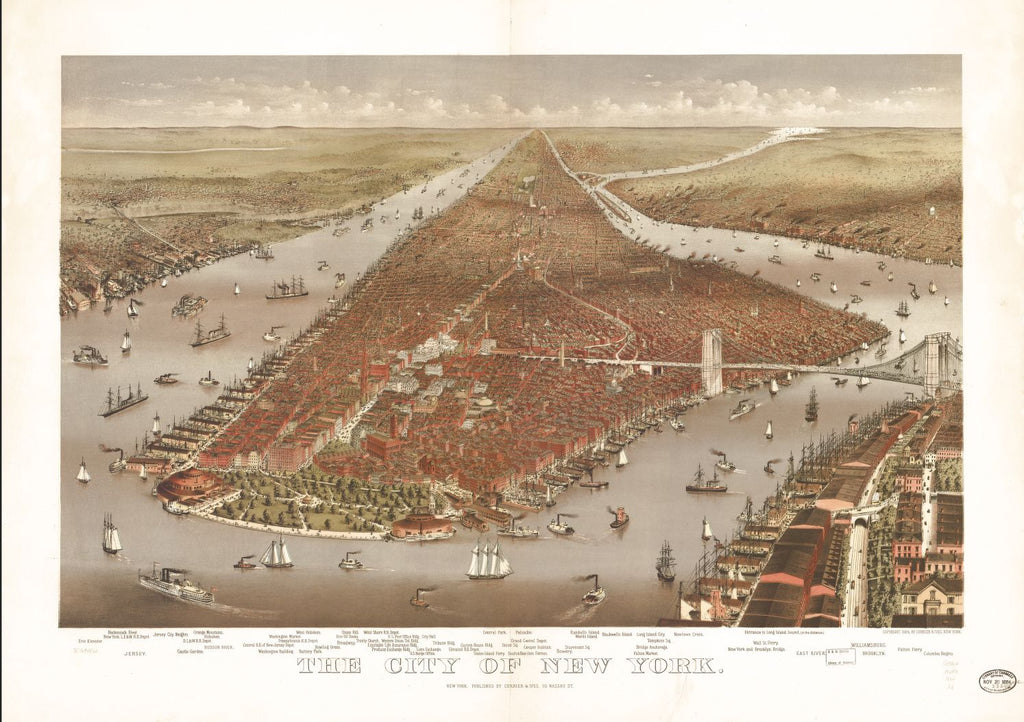 8 x 12 Reproduced Photo of Vintage Old Perspective Birds Eye View Map or Drawing of: New York. Currier & Ives 1884