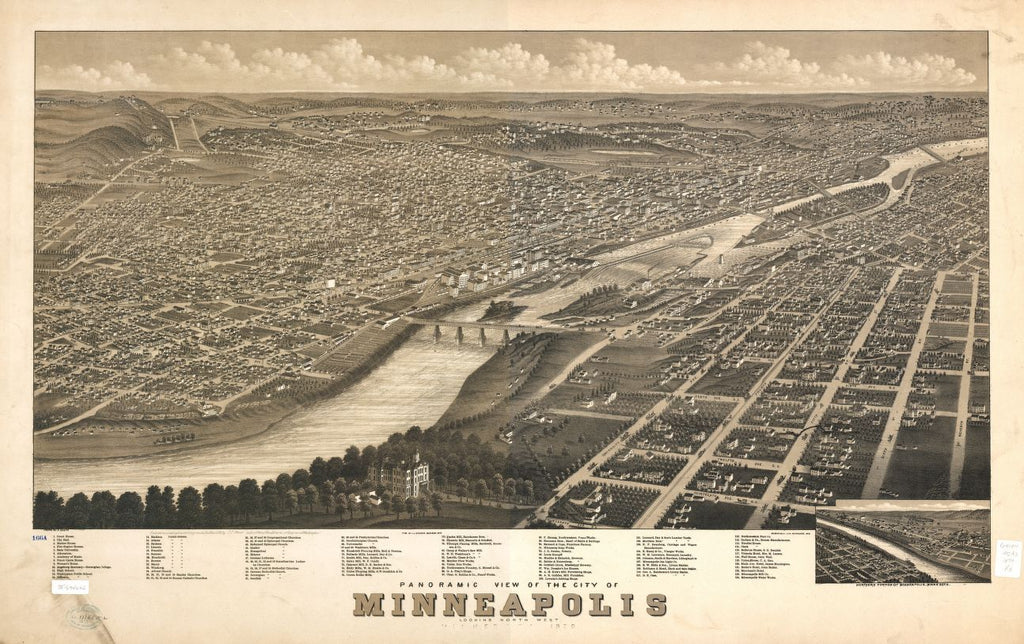 8 x 12 Reproduced Photo of Vintage Old Perspective Birds Eye View Map or Drawing of: Panoramic Minneapolis, Minnesota, 1879. [Ruger, A.] 1879