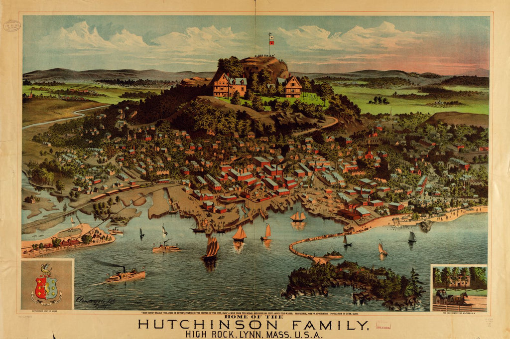 8 x 12 Reproduced Photo of Vintage Old Perspective Birds Eye View Map or Drawing of: Home of the Hutchinson Family, High Rock, Lynn, Mass., U.S.A.  Shaw (C.A.) and H.J. Hutchinson - Armstrong & Co. (Boston, Mass,)  1881