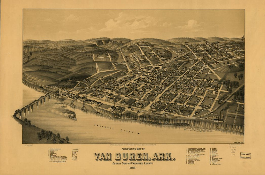 8 x 12 Reproduced Photo of Vintage Old Perspective Birds Eye View Map or Drawing of: Van Buren, Ark. county seat of Crawford County 1888. Wellge, H. (Henry)Beck & Pauli.Henry Wellge & Co. 1888