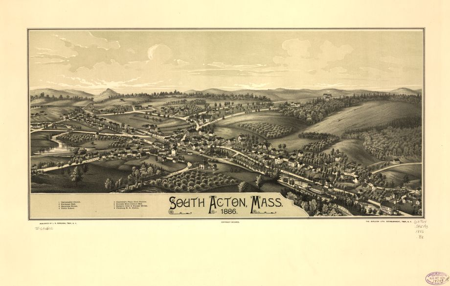 8 x 12 Reproduced Photo of Vintage Old Perspective Birds Eye View Map or Drawing of: South Acton, Mass. 1886.  Burleigh, L. R. (Lucien R.) - Burleigh Litho - Burleigh, L. R.  1886