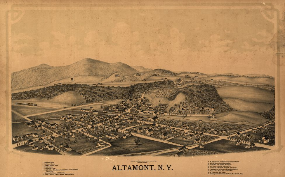 8 x 12 Reproduced Photo of Vintage Old Perspective Birds Eye View Map or Drawing of: Altamont, N.Y.  Burleigh, L. R. (Lucien R.) - Burleigh, L. R.  1889