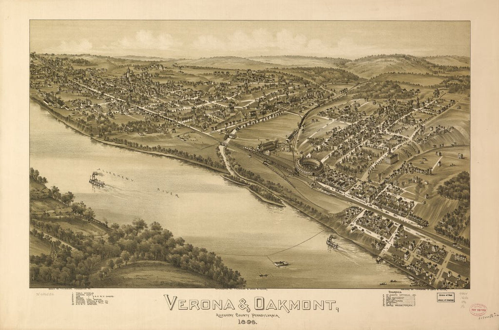 8 x 12 Reproduced Photo of Vintage Old Perspective Birds Eye View Map or Drawing of: Verona & Oakmont, Allegheny County, Pennsylvania 1896.   Fowler, T. M. - Moyer, James - Fowler, T. M.  1896