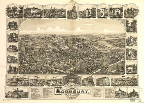 8 x 12 Reproduced Photo of Vintage Old Perspective Birds Eye View Map or Drawing of: Woodbury, New Jersey, 1886. O.H. Bailey & Co. 1886