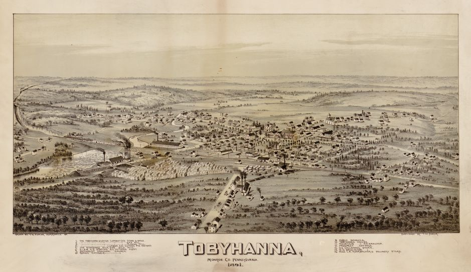 8 x 12 Reproduced Photo of Vintage Old Perspective Birds Eye View Map or Drawing of: Tobyhanna, Monroe Co., Pennsylvania, 1891  Fowler, T. M. - Fowler, T. M.  1891