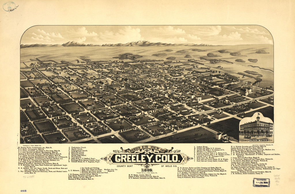 8 x 12 Reproduced Photo of Vintage Old Perspective Birds Eye View Map or Drawing of: Greeley, Colo. county seat of Weld Co. 1882. Stoner, J. J. c1882