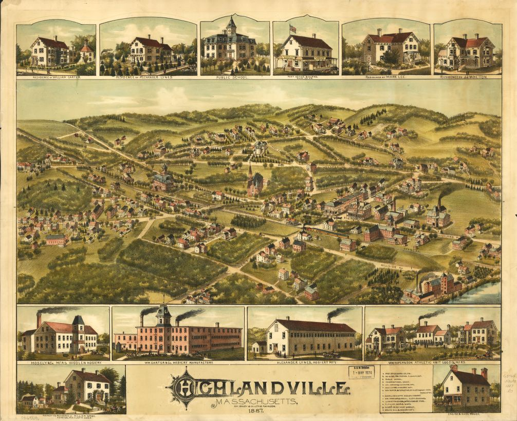 8 x 12 Reproduced Photo of Vintage Old Perspective Birds Eye View Map or Drawing of: Highlandville, Massachusetts 1887.   O.H. Bailey & Co.  1887