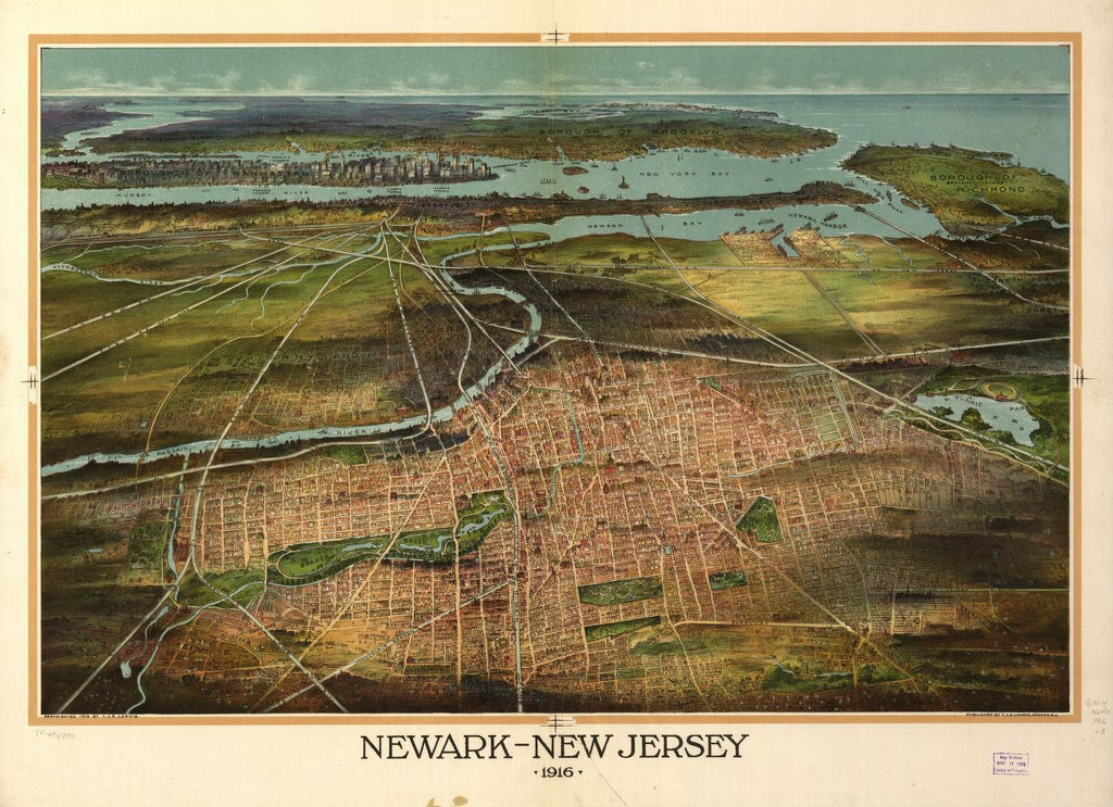 8 x 12 Reproduced Photo of Vintage Old Perspective Birds Eye View Map or Drawing of: Newark-New Jersey 1916. Landis, T. J. Shepherd. 1916
