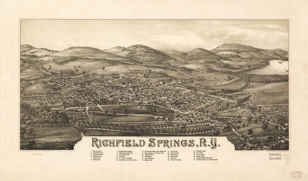 8 x 12 Reproduced Photo of Vintage Old Perspective Birds Eye View Map or Drawing of: Richfield Springs, N.Y. Burleigh, L. R. (Lucien R.) - C.H. Vogt & Son - Burleigh, L. R. 1885