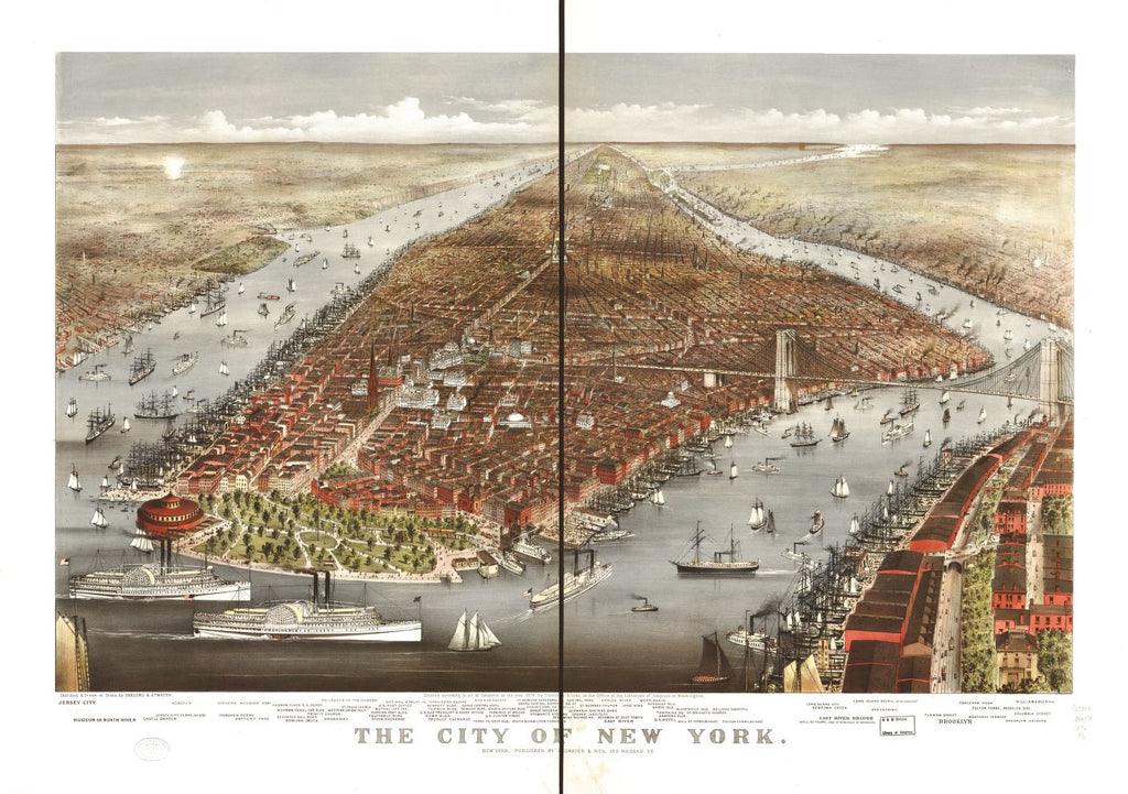 8 x 12 Reproduced Photo of Vintage Old Perspective Birds Eye View Map or Drawing of: New York. Parsons & Atwater - Currier & Ives 1876