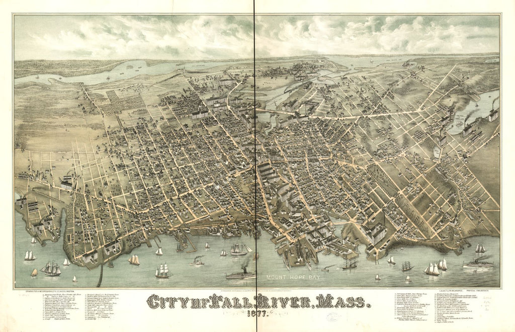 8 x 12 Reproduced Photo of Vintage Old Perspective Birds Eye View Map or Drawing of: Fall River, Mass. 1877.   Bailey, O. H. (Oakley Hoopes) - Hazen, J. C. - C.H. Vogt (Firm) - J. Knauber & Co. - Bailey, O. H.  1877