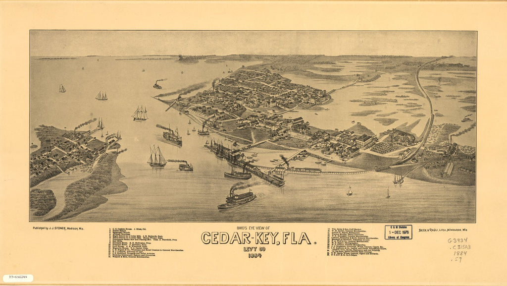 8 x 12 Reproduced Photo of Vintage Old Perspective Birds Eye View Map or Drawing of: Cedar-Key, Fla., Levy Co. Stoner, J. J.Beck & Pauli. 1884