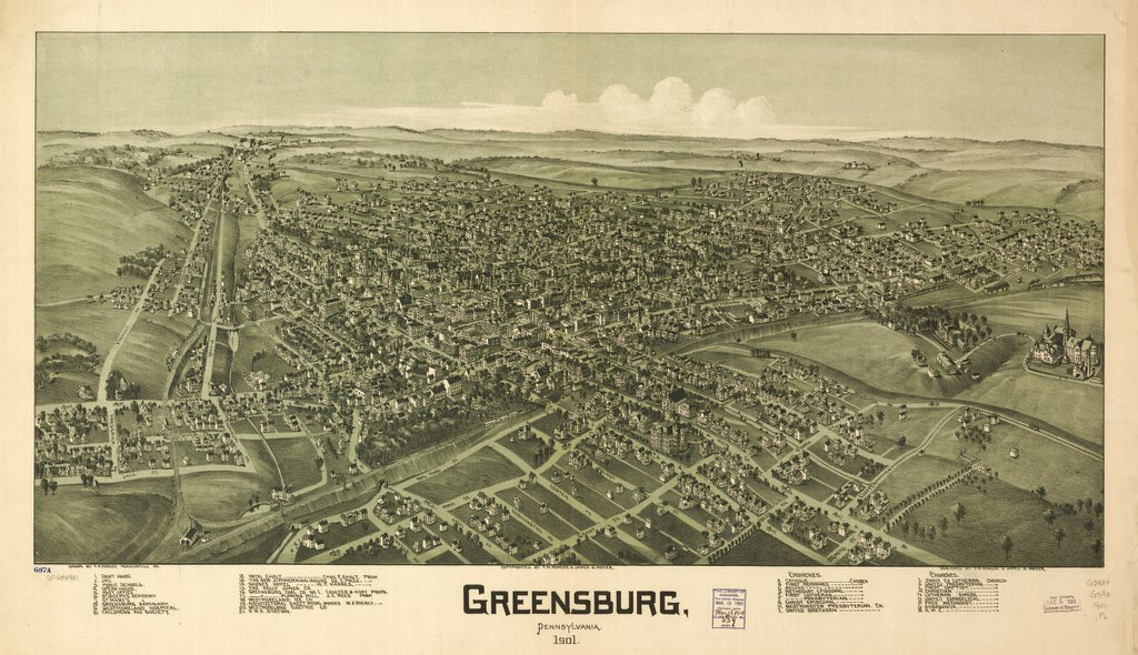 8 x 12 Reproduced Photo of Vintage Old Perspective Birds Eye View Map or Drawing of: Greensburg, Pennsylvania 1901. Fowler, T. M. - Moyer, James - Fowler, T. M. 1901