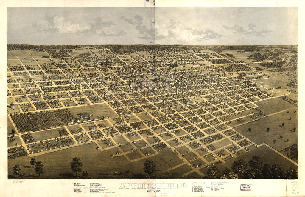 8 x 12 Reproduced Photo of Vintage Old Perspective Birds Eye View Map or Drawing of: Springfield, Illinois 1867. Ruger, A. 1867