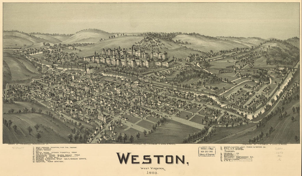 8 x 12 Reproduced Photo of Vintage Old Perspective Birds Eye View Map or Drawing of: Weston, West Virginia 1900. Fowler, T. M. (Thaddeus Mortimer), 1842-1922.Moyer, James B. 1900