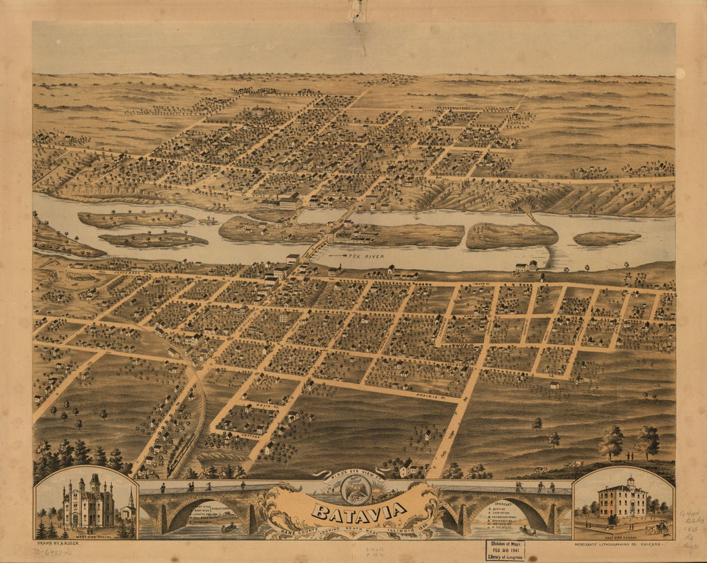 8 x 12 Reproduced Photo of Vintage Old Perspective Birds Eye View Map or Drawing of: Batavia, Kane County, Illinois, 1869. Ruger, A. 1869