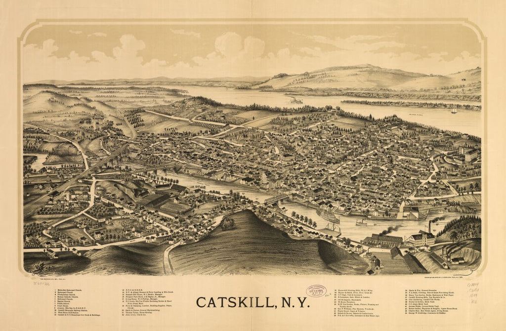 8 x 12 Reproduced Photo of Vintage Old Perspective Birds Eye View Map or Drawing of: Catskill, N.Y.  Burleigh, L. R. (Lucien R.) - Burleigh Litho - Burleigh, L. R.  1889