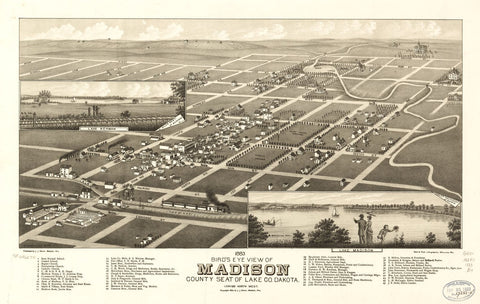 8 x 12 Reproduced Photo of Vintage Old Perspective Birds Eye View Map or Drawing of: 1883 Madison, county seat of Lake Co. Dakota. Brosius, H. c1882