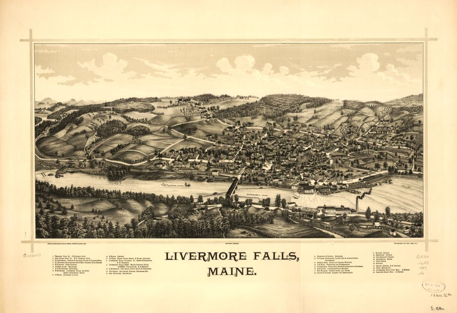 8 x 12 Reproduced Photo of Vintage Old Perspective Birds Eye View Map or Drawing of: Livermore Falls, Maine.   Norris, George E. - Burleigh Litho  1889