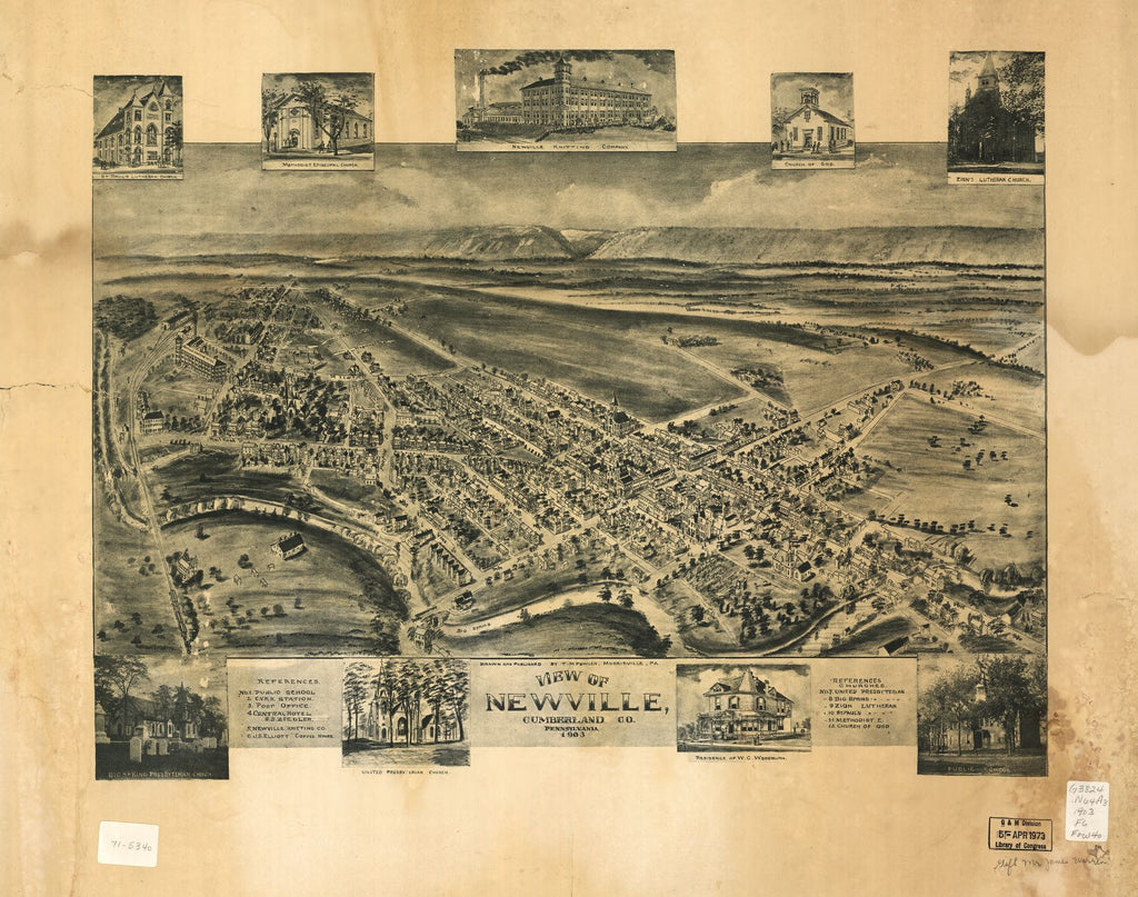 8 x 12 Reproduced Photo of Vintage Old Perspective Birds Eye View Map or Drawing of: Newville, Cumberland Co., Pennsylvania 1903 Fowler, T. M. - Fowler, T. M. 1903