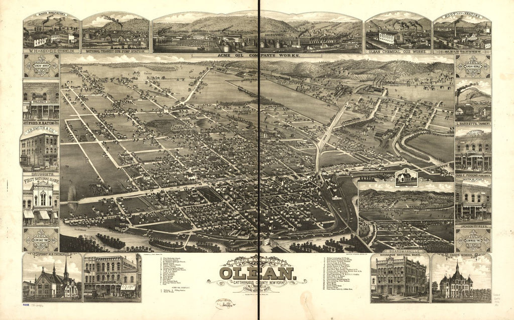 8 x 12 Reproduced Photo of Vintage Old Perspective Birds Eye View Map or Drawing of: Olean, Cattaraugus County, New York 1882. Brosius, H. - Stoner, J. J. - Beck & Pauli 1882