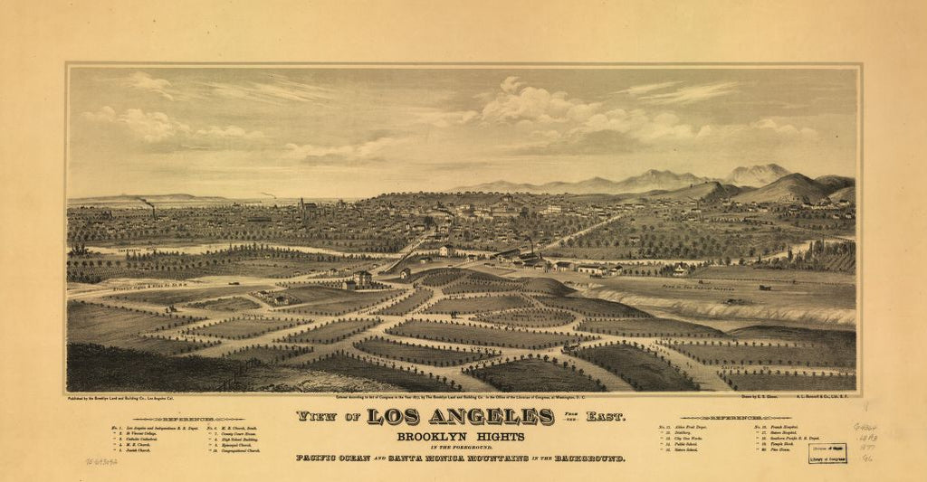 8 x 12 Reproduced Photo of Vintage Old Perspective Birds Eye View Map or Drawing of: Los Angeles from the east. Brooklyn Hights in the foreground; Pacific Ocean and Santa Monica Mountains in the background. Glover, E. S. (Eli Sheldon), 1844-1920. c1877