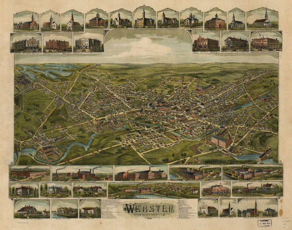 8 x 12 Reproduced Photo of Vintage Old Perspective Birds Eye View Map or Drawing of: Webster, Massachusetts 1892.  O.H. Bailey & Co.  1892