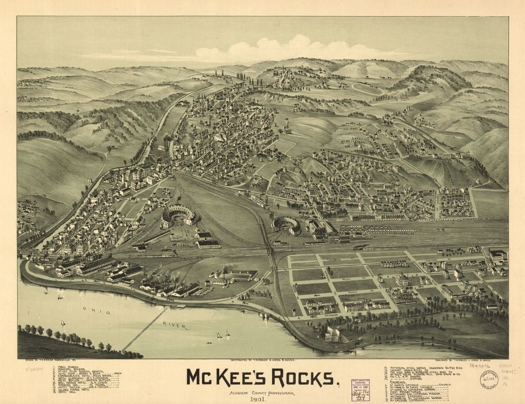 8 x 12 Reproduced Photo of Vintage Old Perspective Birds Eye View Map or Drawing of: McKee's Rocks, Allegheny County, Pennsylvania 1901. Fowler, T. M. - Moyer, James - Fowler, T. M. 1901