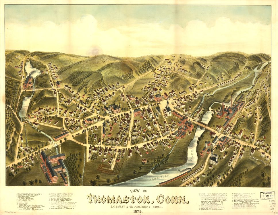 8 x 12 Reproduced Photo of Vintage Old Perspective Birds Eye View Map or Drawing of: Thomaston, Conn. 1879.   O.H. Bailey & Co.  1879