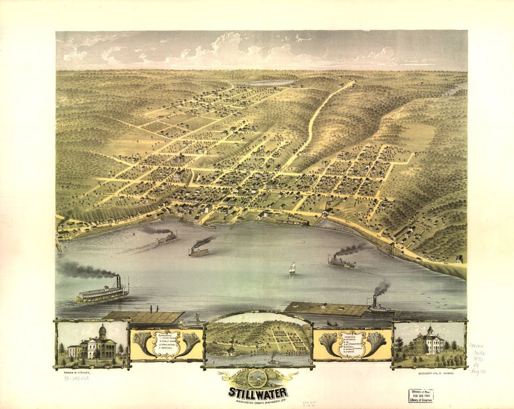 8 x 12 Reproduced Photo of Vintage Old Perspective Birds Eye View Map or Drawing of: Stillwater, Washington County, Minnesota 1870. Ruger, A. 1870